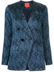 Manning Cartell Printed Double Breasted Blazer A Blue