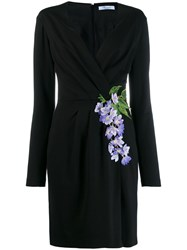 Blumarine Floral Embroidered Wrap Dress Black