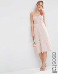 Asos Tall Wedding Ruched Midi Dress With Corsage Straps Nude Pink