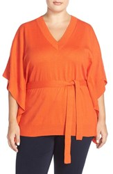 Plus Size Women's Michael Michael Kors Belted V Neck Poncho Top