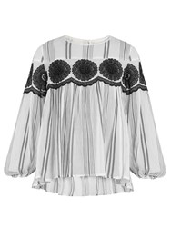 Muveil Floral Embroidered Striped Cotton Gauze Top White Black