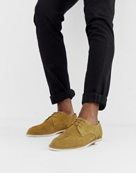 Hudson H By Chatra Woven Lace Up Shoes In Camel Suede Beige