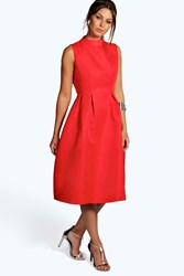 Boohoo Boutique High Neck Prom Dress Red