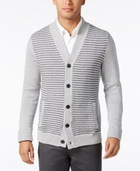 Alfani Men's Big And Tall Colorblocked Textured Panel Cardigan Only At Macy's Light Grey Heather