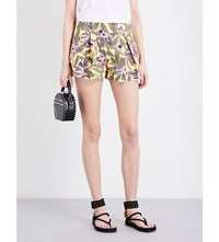 Red Valentino Passion Flower Print Stretch Cotton Shorts Limone
