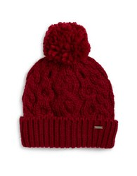 Rella Cable Knit Pom Pom Accented Fleece Lined Beanie Dark Red