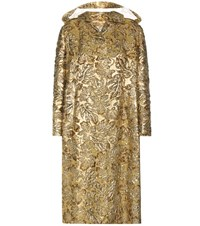 Prada Metallic Jacquard Coat Gold