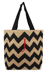Cathy's Concepts Personalized Chevron Print Jute Tote Grey Black Natural J