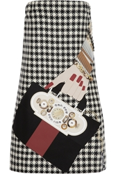 Holly Fulton Appliqua D Houndstooth Wool Mini Dress