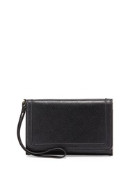 Neiman Marcus Leather Cell Phone Wristlet Black