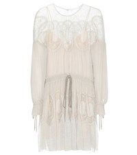 Chloe Lace Trimmed Cotton Dress Grey