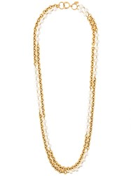 Chanel Vintage Chain And Pearl Double Necklace Metallic