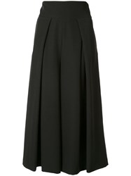 Milly Cropped Wide Leg Trousers Black