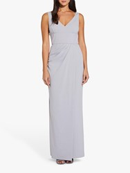 Adrianna Papell Long Crepe Dress Bridal Silver