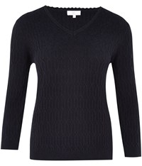 Cc Navy V Neck Cable Jumper