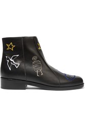 Carven Embroidered Leather Ankle Boots Black
