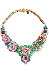 Shourouk Gold Plated Crystal And Sequin Necklace Green