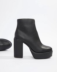 London Rebel Platform Ankle Boots Black