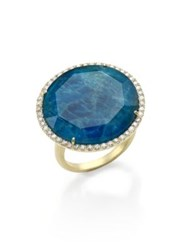 Meira T Apatite White Topaz Diamond And 14K Yellow Gold Cocktail Ring