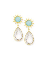 Dina Mackney Opal And Rock Crystal Drop Earrings Gold