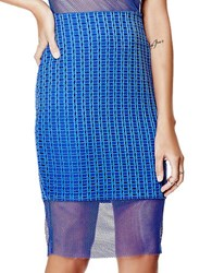 Guess Mesh Hem Pencil Skirt Blue