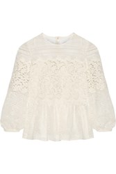 Burberry Paneled Cotton Blend Lace Peplum Blouse Off White