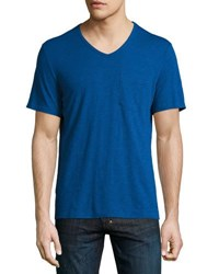 Penguin Bing V Neck Jersey Tee Blue