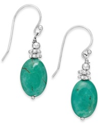 Macy's Manufactured Turquoise Oval Drop Earrings In Sterling Silver 15 Ct. T.W.