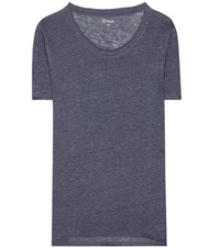 81 Hours Pepper Linen T Shirt Blue
