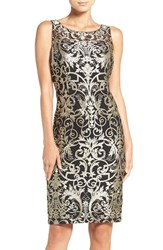 Adrianna Papell Women's Metallic Embroidered Sheath Dress