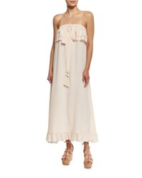 See By Chloe Sleeveless Ruffle Trim Silk Popover Midi Dress Pink Sheer Pink