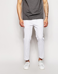 Asos Slim Fit Cropped Trousers In Polka Dot White