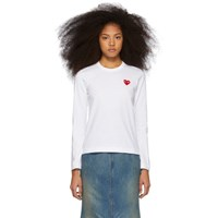 Comme Des Garcons Play White And Red Heart Patch Long Sleeve T Shirt