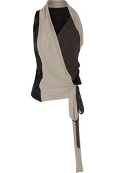 Rick Owens Limo Wrap Effect Leather Silk And Crepe Top Black