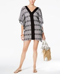 Dotti Diamond Daze Printed Tunic Cover Up Women's Swimsuit Black White