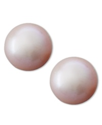 Belle De Mer Pearl Earrings 14K Gold Pink Cultured Freshwater Pearl Stud Earrings 8Mm