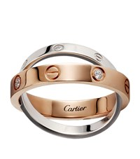 Cartier Rose And White Gold Diamond Love Ring Multi