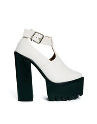Truffle Collection Truffle Beth Ankle Strap Platform Heeled Shoes White