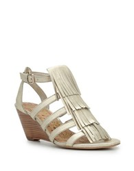 Sam Edelman Sandra Leather Wedge Sandals Light Gold
