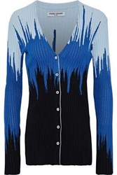 Opening Ceremony Ribbed Intarsia Knit Cardigan Blue