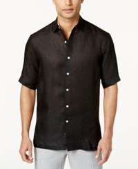 Tasso Elba Men's Linen Shirt Only At Macy's Black Comb