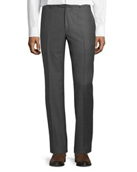 Santorelli Sharkskin Wool Dress Pants Gray
