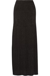 Missoni Pleated Metallic Crochet Knit Maxi Skirt Black