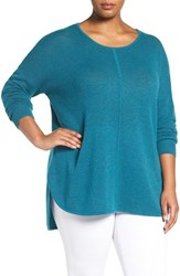 Sejour Plus Size Women's Wool And Cashmere Scoop Neck Sweater Teal Colonial