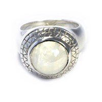 Puck Wanderlust Rainbow Moonstone Power Ring White Silver