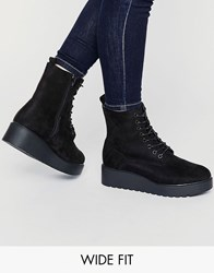 New Look Wide Fit Lace Up Platform Boot Black