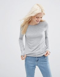 Asos T Shirt With Long Sleeves And Crew Neck Grey
