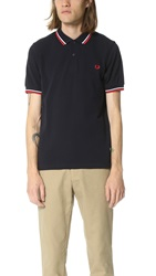 Slim Fit Twin Tipped Fred Perry Shirt Navy White Red