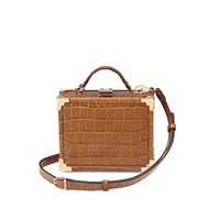 Aspinal Of London Women's Mini Trunk Clutch Bag Tan Croc