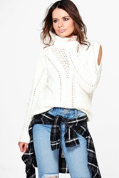Boohoo Cable Cold Shoulder Roll Neck Jumper Cream